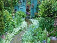 garden, flowers, pathways