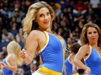Pictures of cheerleaders for the NBA team Golden State Warriors