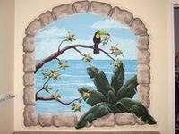 hand painted or stenciled wall murals