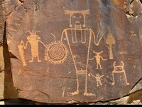 Petroglyphs, Pictographs, Hieroglyphics, Symbols, Scripts, Graffiti - ancient and modern world-wide - and art that uses these in a creative way.