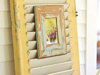 pallets, caixotes, janelas e portas de demolição, escadas - Ideias