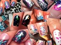 Nail art, acrylic nails, hand painted, sparkles, polish, glitter, etc.... mixed media. You name it!
