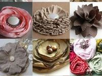 Handmade flowers made from various types of materials.
