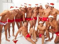 Hot men dressed in Santa suits!