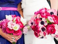 Floral arrangements featuring shades of bright and deep pink.