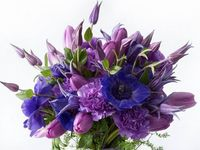 Floral arrangements featuring shades of purple.