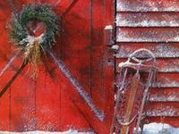wreaths, holiday decorations, etc / evergreen wreaths, stockings, and decorations