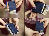 Minimalist Wallet Nappa Leather /  NERO: Original Ultra Slim Design Handmade Minimalist Wallet - Leather or Denim  - RFID Protected - Wallets for Men and Women - Mens Fashion
