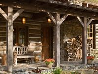 Log furniture and beds. Interiors. I'm addicted to log cabins. Especially the older ones .