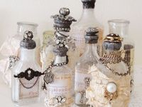 decorated glass bottles and jars