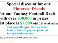 """Sports Fanatics Player Drafts offering fantasy football drafts since 1993. Fantasy football, all with cash prizes. Odds often times better than 1 of 3 win a prize. Remember: to win you must play. Pinterest users get the previous participant discount, enter the letters """"pin"""" after your last name and select the previous contestant box. go to: www.sportsdrafts.com"""