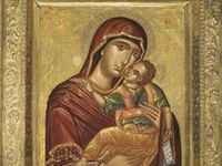 """An icon (from Greek εἰκών eikōn """"image"""") is a religious work of art, most commonly a painting, from Eastern Christianity & in certain Eastern Catholic churches. In Eastern Orthodoxy & other icon-painting Christian traditions, the icon is generally a flat panel (generally of wood) painting depicting a holy being or object such as Jesus, Mary, saints, angels, or the Cross. Icons may also be cast in metal, carved in stone, embroidered on cloth, done in mosaic work, printed on paper or metal, etc."""