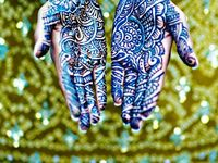 """The Indian art of applying Henna temporary tattoos is widely used as part of the south asian wedding ensemble. """"Mehndi, also spelled """"Mehendi"""" is from Hindi, derived originally from the Sanskrit """"Mendhika"""" denoting the henna plant from which the dye is derived. Oh, did I mention...it's really beautiful!"""