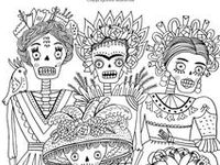 mexican folk art coloring pages - coloring book on pinterest day of the dead dover
