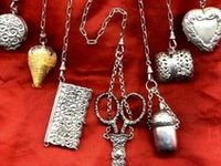 A chatelaine is a decorative belt hook or clasp worn at the waist with a series of chains suspended from it. Each chain is mounted with a useful household appendage such as scissors, thimble, watch, key, vinaigrette, household seal, etc.