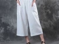 Loose & Linen Bottoms / This board will show you more trendy &chic skirts, pants, overall, rompers and so on.