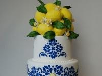 Cobalt, White and Lemon Wedding Cake Final Inspiration