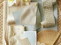 I adore color boards... these interior desing boards, mostly about the color, but also style and other such details... with bits of wallpaper and rugs and curtains and other fabrics and materials... I just love them. (No wonder I like Pinterest :-D)