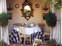 In my next life I want to be an interior decorator. Love cottage style, English country, French country, anything monogrammed, tons of clutter and color and antiques.