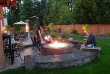 Backyard-Fire Pit & Wood Storage Ideas / A night time fire pit ideas. / by Linda Finni