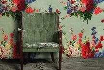 Floral Wall Love / Vibrant floral walls that inspire.  For more Bohemian Style go to www.vintagerenewal.com