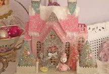 glitter houses and other Christmas decor
