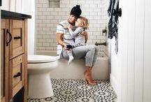 bathroom // / tiles + big sinks + clawfoot tubs + raw wood + pretty mirrors.