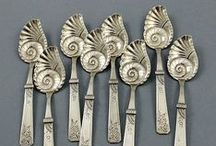 Silver Dessert Dreams / When dessert was a special occasion silver utensils were designed specifically for a delicious treat. Ice creams spoons and forks reflected how rare a dish of ice cream was to eat. Strawberry forks made even the simplest of nature's treats very special. Sugar spoons reflect the novelty of a scoop of sugar. Come to my house for dessert sometime, but enjoy this vision of silver designed for dessert.