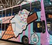 Brighton & Hove Buses: our beach bus design / Here's our third design in the Get Bus(y) series of Brighton buses. A genteel contrast to the Street Art bus and the Beach bus, the Downs bus celebrates all of the incredible flora and fauna that we have on our doorstep, as well as the landmarks that can be found across the Downs too. We've illustrated the bus in an Eric Ravilious style, an artist well known for documenting the Sussex Downs in his work.
