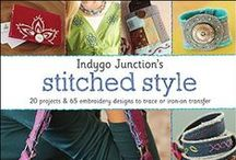 Indygo Junction's Stitched Style Embroidery Book / 60+ iron-on transfer hand embroidery designs & 20+ projects to make or embellish ready-made items. A must have for those who love handwork. Use recycled denim jeans or Crossroads Denim fabric. Projects include jewelry, accessories, clothing, and much more.