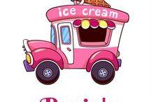 Rosie's Little Book of Ice Cream / The wit and wisdom of Rosie, a 1962 Commer ice cream van.
