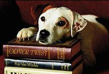 Outside of a dog, a book is a man's best friend. / Inside of a dog its too dark to read. Dogs + their authors...