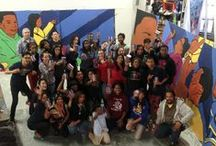 """87th Street Mural Takes Shape / Garrett Popcorn Shops was excited to collaborate once again with artist Rahmaan """"Statik"""" Barnes and Kenwood and Simeon high school students via After School Matters to create a second mural for our 87th Street Shop (737 E. 87th Street)."""