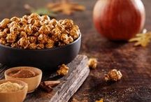 "Pumpkin CaramelCrisp® / A seasonal favorite is back for a limited time! Real pumpkins, puréed to perfection, with crushed cinnamon, ginger and a hint of cloves are gently stirred into our buttery CaramelCrisp® recipe. Enjoy the crisp Autumn season with a taste that is truly ""Like No Other"". / by Garrett Popcorn Shops"