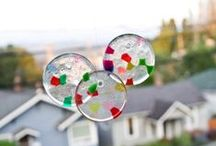 DIY Wind Chimes & DIY Suncatchers / diy suncatcher, diy sun catcher, how to make a sun catcher, diy stained glass, tissue paper stained glass, how to do stained glass, stained glass how to, diy wind chimes, how to make a wind chime, plastic bead suncatcher