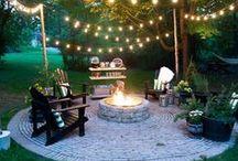 Backyard Oasis DIY ideas / Ideas and inspiration for building a backyard oasis on a budget. Garden paths, backyard lighting, firepits, and patios.