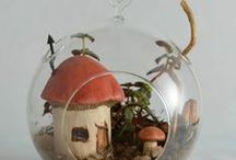 Fairy homes - some occupied, some available / Miniature houses each is a one of a kind piece, lovingly crafted then made weather resistant/UV resistant so they can be combined with living plants, just the way the fae prefer!