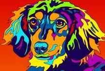 Oh my DOGS / Really colorful dog art that will illuminate your house!! 100% made in USA. Gallery wrapped canvas giclee & matted print available.