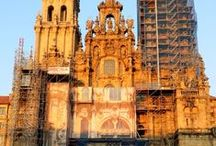 Santiago de Compostela / The pilgrimage city of Santiago de Compostela, the destination of the pilgrims from the many Ways of St. James, or the Camino de Santiago. At the heart is the cathedral!