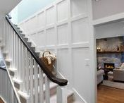 Staircase Walls / Interior design and decorating ideas for decorating the awkward staircase wall