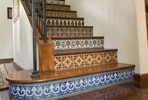 Stairs / Interior design and decorating ideas for stairs, a staircase, tread, runner, carpet, tile, wood, paint, pattern, handrail, spindles