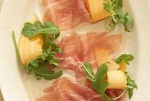 Salad of Prosciutto and Melon / The irresistible pairing of fresh sweet ripe melon and cured salty prosciutto has made this dish a timeless classic on Italian-American menus.