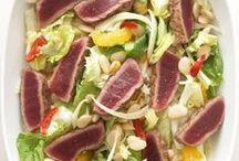 """Tuna """"Mezzo Cotto"""" with Orange, Fennel and Escarole Salad / This salad is traditionally made with blood oranges. Classified as a sweet orange, the blood orange is thought to have been first grown back in the seventeenth century in Sicily, where it still flourishes."""
