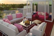 Design by Color - Pretty in Pink / If your favorite color is pink let this board guide you to your ideal entertainment space inside and out!