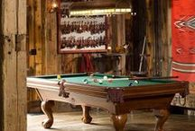 Game Room - Warm and Cozy in Log Cabin Style / Create the perfect, rustic atmosphere with these products! #logcabin
