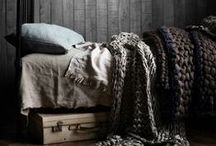 Bedroom / Spare, cozy, design for my rustic cabin bedroom with organic bedding and fabrics.
