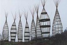 Sticks, Fences + Follies / Fences, follies, and environmental art made with sticks.