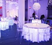 Winter White Party   Festivities Design / We like to add a bit flair to White Parties with candles, chevron fabric, blue tones, glass and mirrored furniture.
