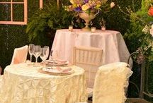 English Manor Theme   Festivities / This English Manor themed setting combines soft colors like ivory and blush with elegant brass and iron fixtures.