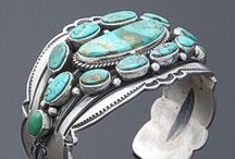 Turquoise Jewelry / Beautiful turquoise jewelry. Many are collectible Fred Harvey-era vintage Navaho sterling silver pieces.